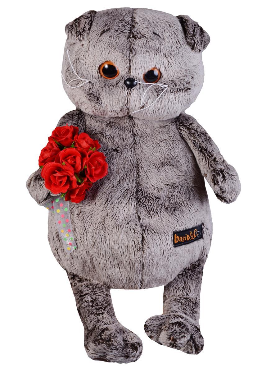 Мягкая игрушка Басик с букетом красных роз (30 см)