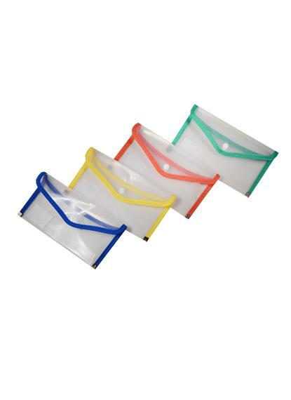 Папка-конверт А5 на кнопке, прозрачная с цв. окантовкой, диагональ, пластик 0,35 мм, Fuxing