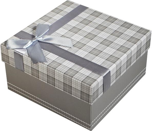 """Коробка подарочная """"Клетка серая"""" 15*15*7,5см"""