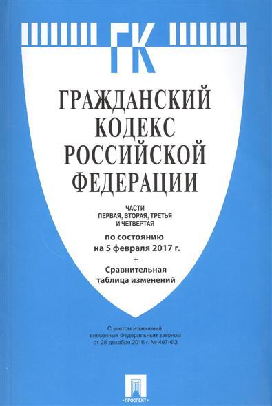 Гражданский кодекс Российской Федерации. Части первая, вторая, третья и четвертая по состоянию на 5 февраля 2017 г. + сравнительная таблица изменений