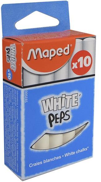 Мелки белые круглые, 10 шт., Maped