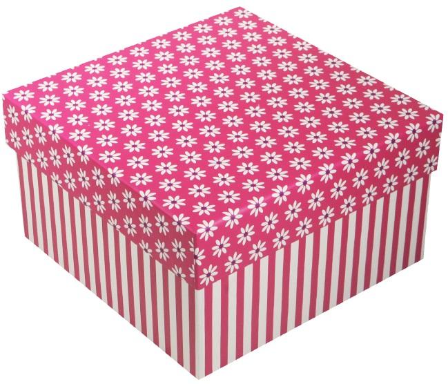 "Коробка подарочная ""Ромашки c полосками"", фуксия 17*17*9.5см"