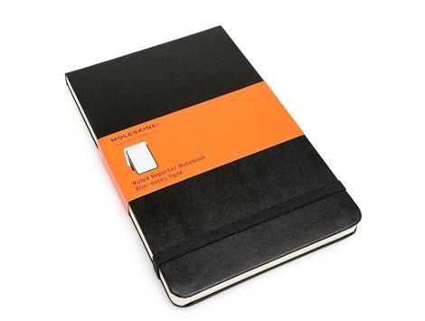 """Книга для записей А5 120л лин. """"Reporter"""" черная, жесткая обложка, резинка, карман, Moleskine"""