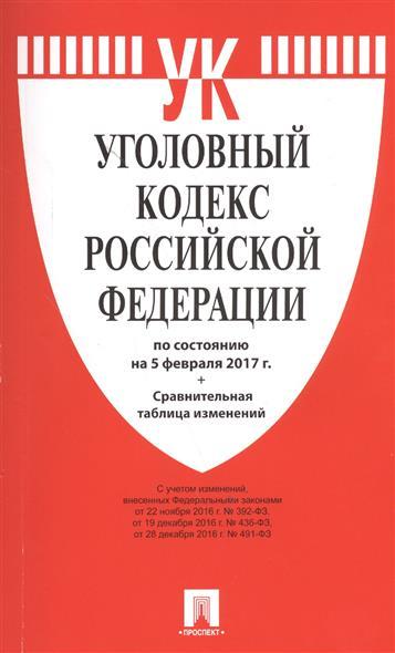 Уголовный кодекс Российской Федерации по состоянию на 5 февраля 2017 г. + Сравнительная таблица изменений
