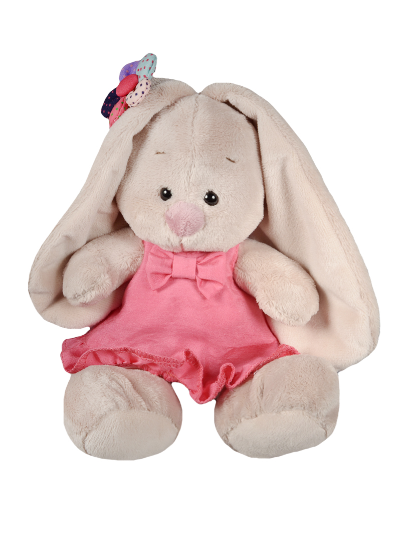 Мягкая игрушка Зайка Ми в розовом сарафанчике и ромашкой на ушке (15 см) (SidX-144)