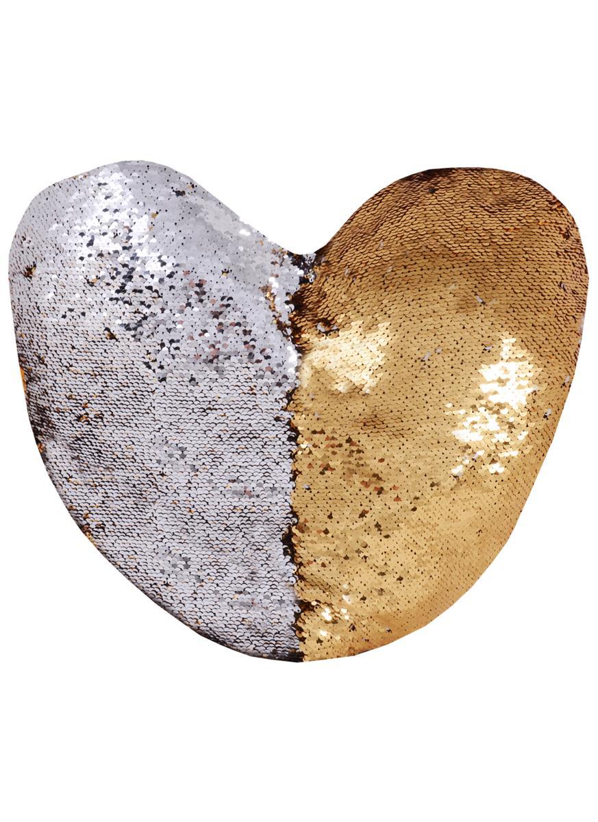 Подушка с пайетками Сердце золото с серебром (45х45)