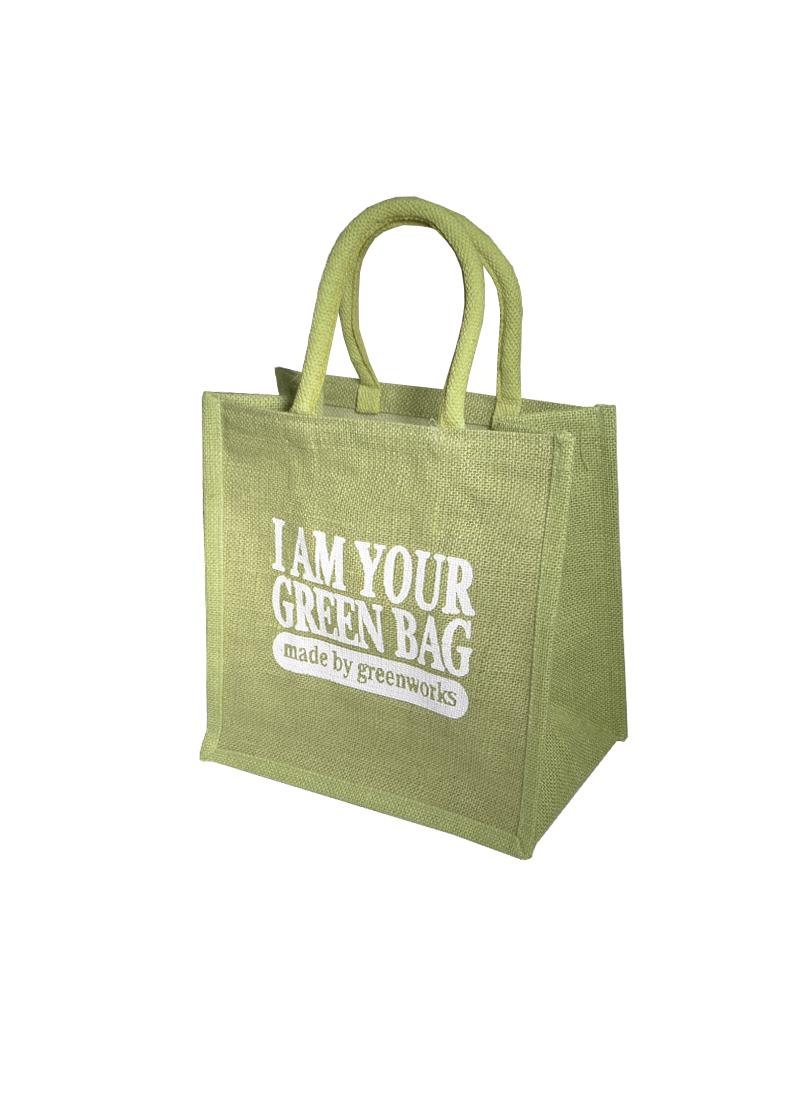 Сумка джутовая (РВ-1484) (30х30х18) Зеленая сумка (Гринворкс)