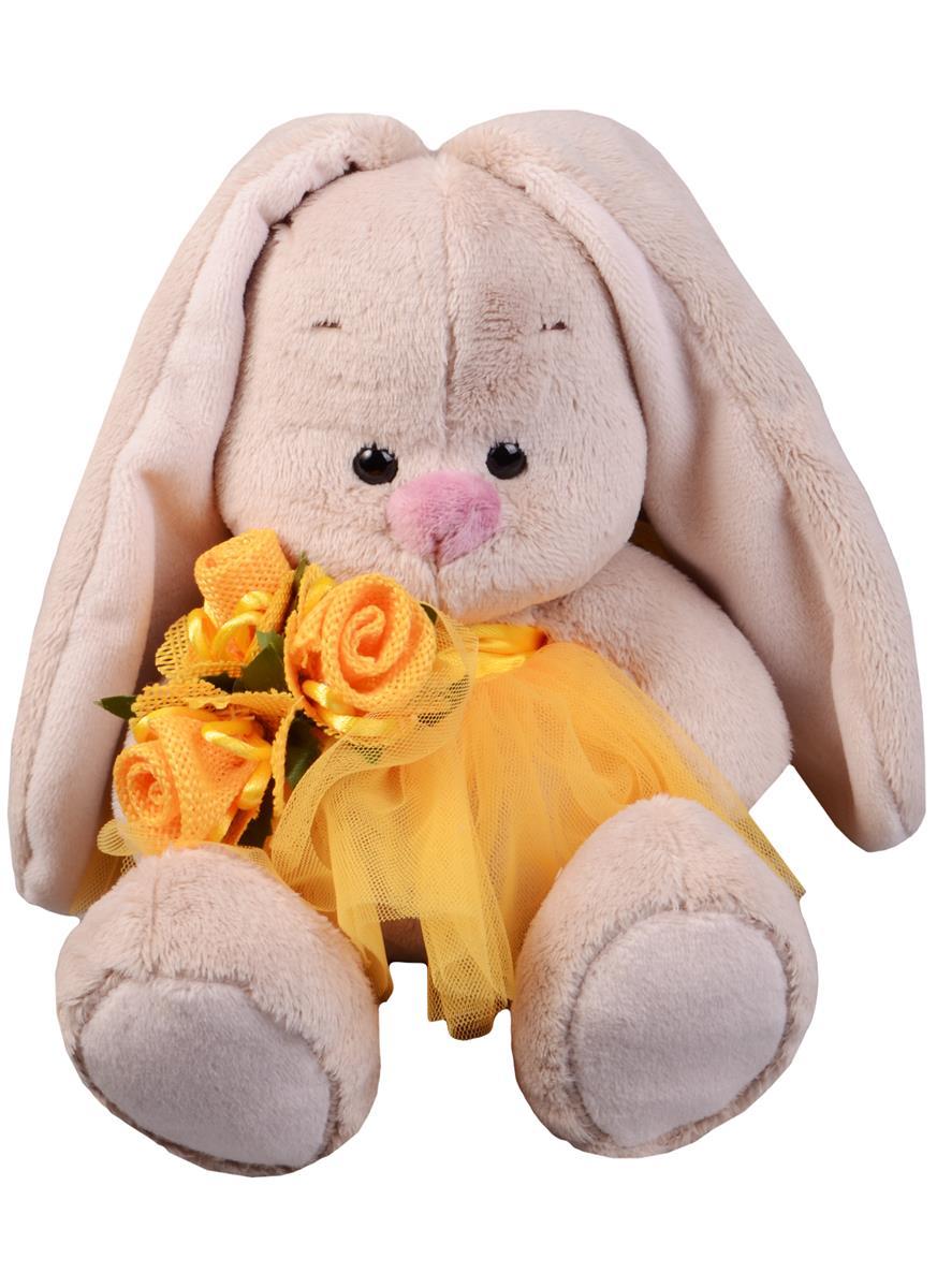 Мягкая игрушка Зайка Ми в желтой юбочке и с букетом (15 см)
