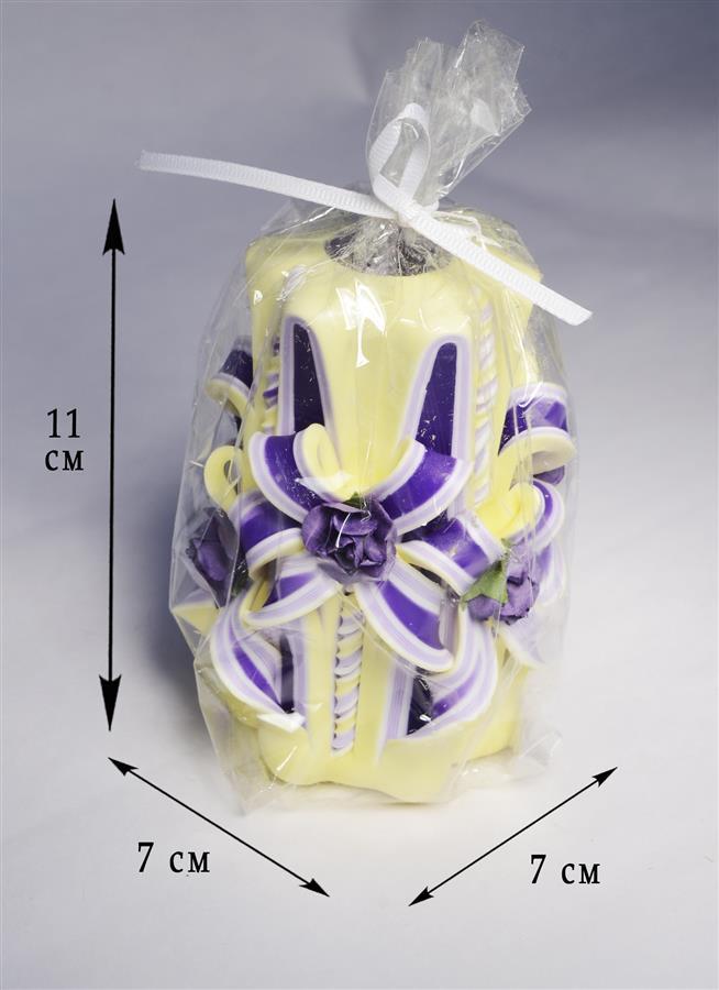 Свеча резная Цветочная сливочно-фиолетовая (11 см)