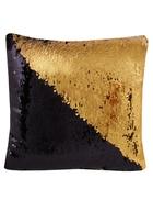 Подушка с пайетками черная с золотом (37х37)