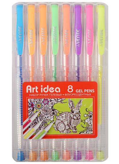 Ручки гелевые 08цв 0,8мм неон, пл/уп, подвес, Art idea