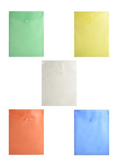 Папка-конверт А4 с кнопкой, вертикальный, ассорти, Бюрократ