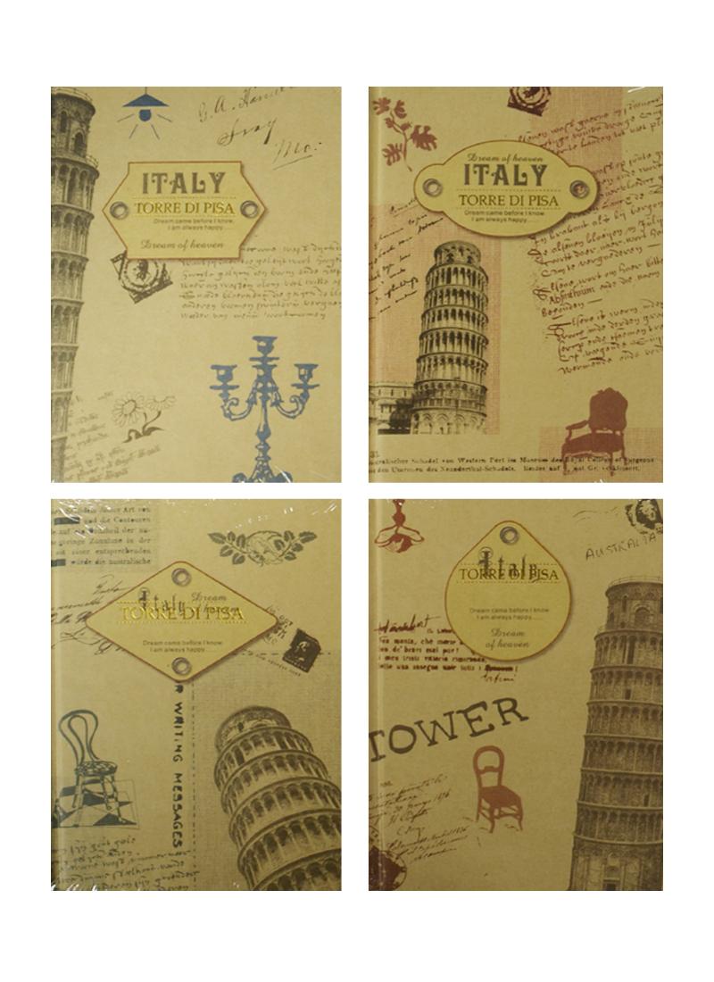 """Записная книжка А6 192л лин. """"Torre di Pisa"""" 7БЦ, ассорти, Haich"""