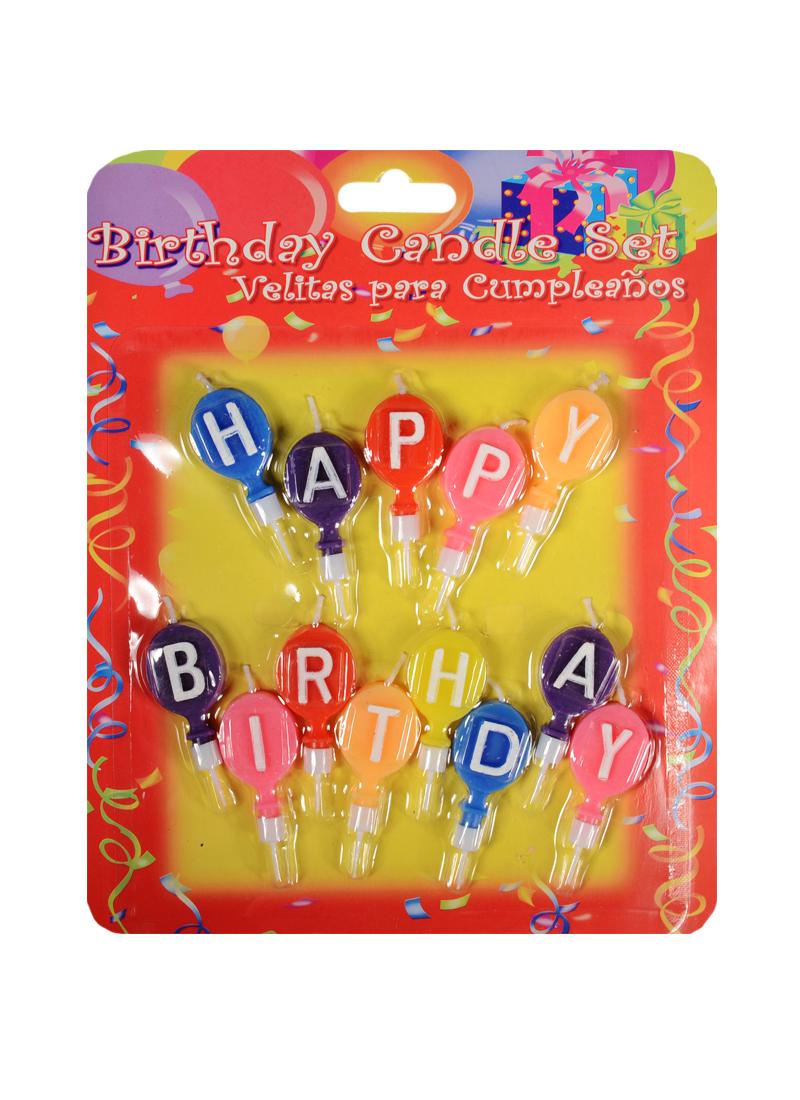 Набор свечей для торта Happy Birthday (шарики)