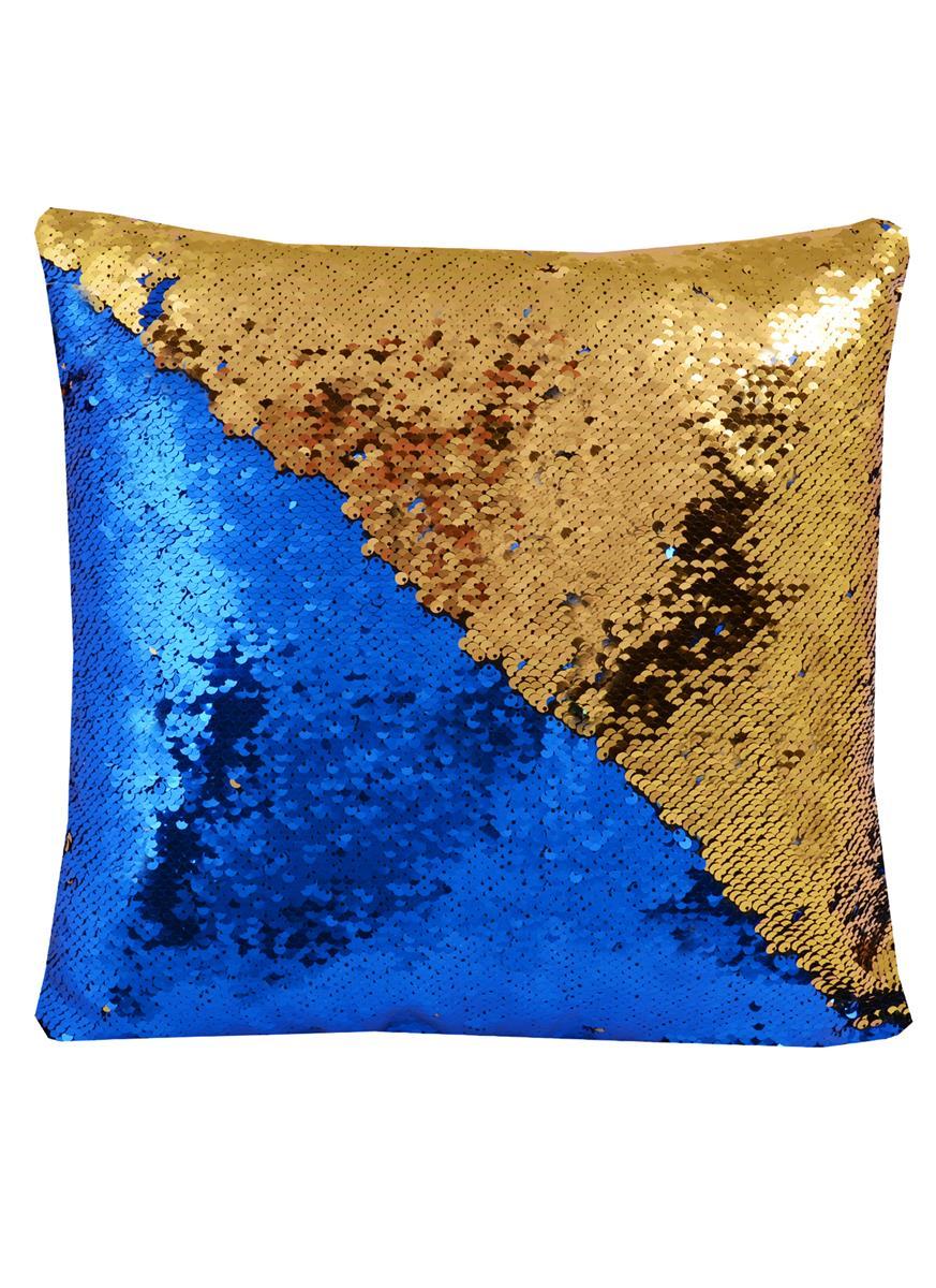 Подушка с пайетками синяя с золотом (37х37)