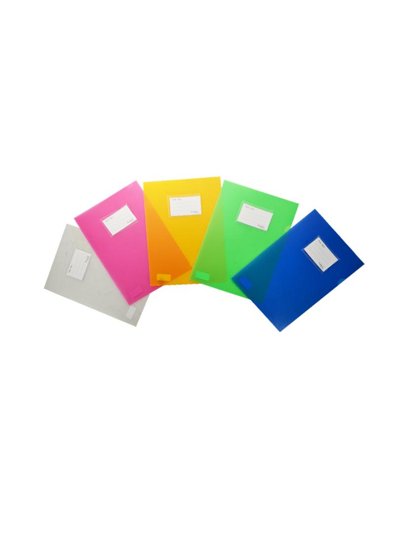 Папка-уголок А4, карман д/визитки, пластик 0,5мм, ассорти, Tramix