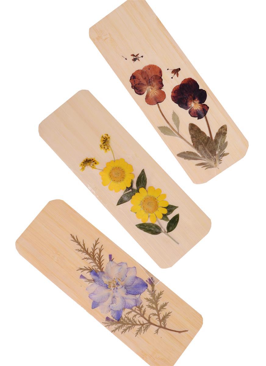 Закладка деревянная с натуральными цветами (14х5)