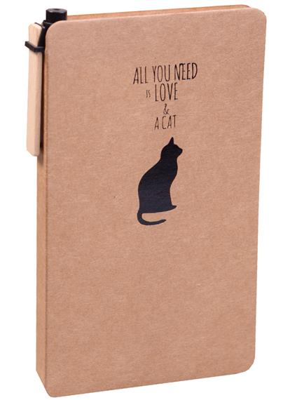 "Блокнот А6 100л нелин. ""All you need is cat"", крафт, с ручкой, Haich"