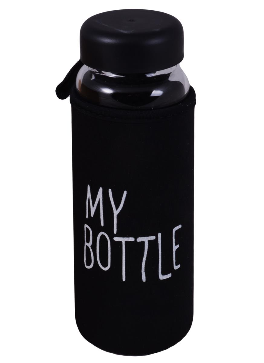 Бутылка в чехле My Bottle черная (стекло) (500мл)