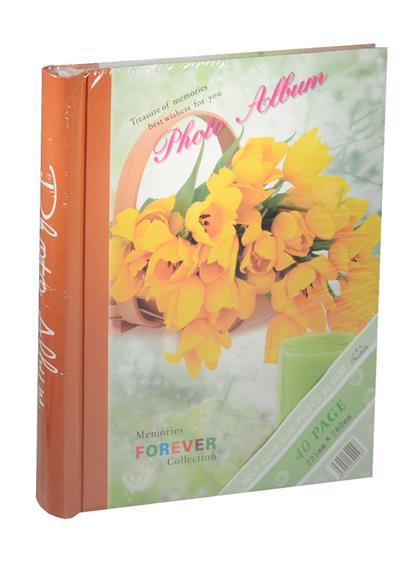 Фотоальбом магнитный 20 листов Желтые тюльпаны в корзине (24х29)