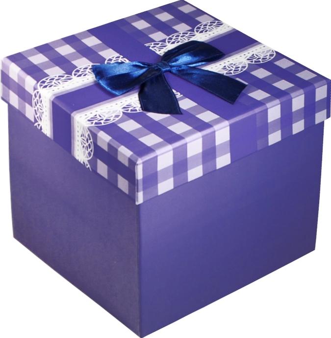 """Коробка подарочная """"Бант на синей клетке"""""""