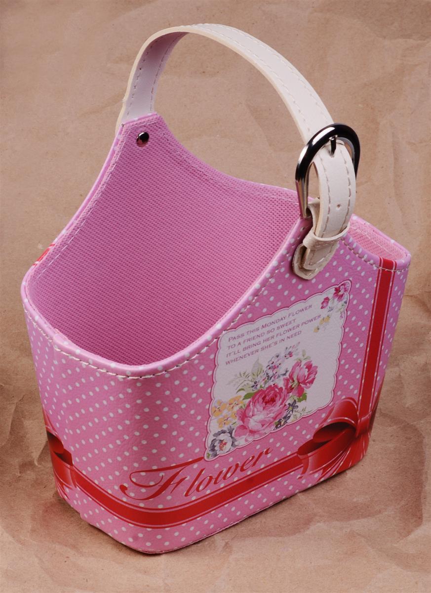 Корзинка для мелочей с ручкой Flower белые горошины на розовом