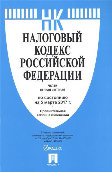 Налоговый кодекс Российской Федерации. Части первая и вторая. По состоянию на 5 марта 2017 г. + сравнительная таблица изменений