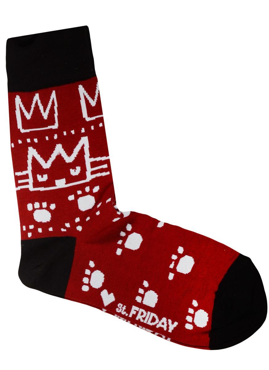 Дизайнерские носки Кошки и следы бордо (размер 39-41)