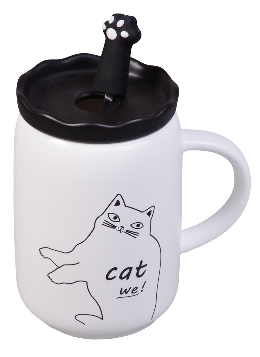 Кружка с крышкой и ложкой-лапкой Cat (керамика) (350мл)