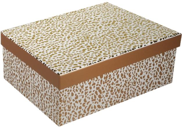 """Коробка подарочная """"Пятнышки"""" желтый металлик 21*14.5*8.5см"""