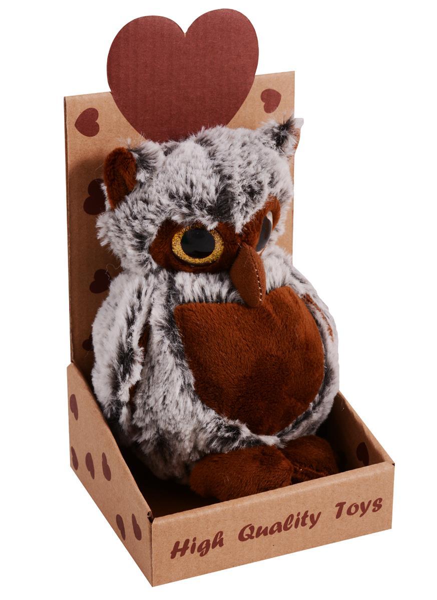 Сова пушистая большая с блестящими глазками в крафт коробке (17 см)