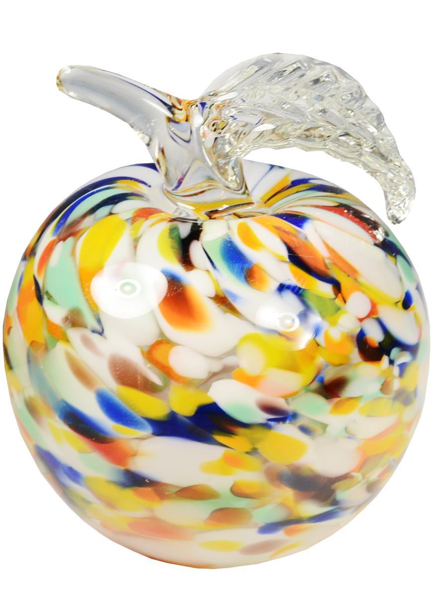 Сувенир стекло Яблоко разноцветное (9 см)