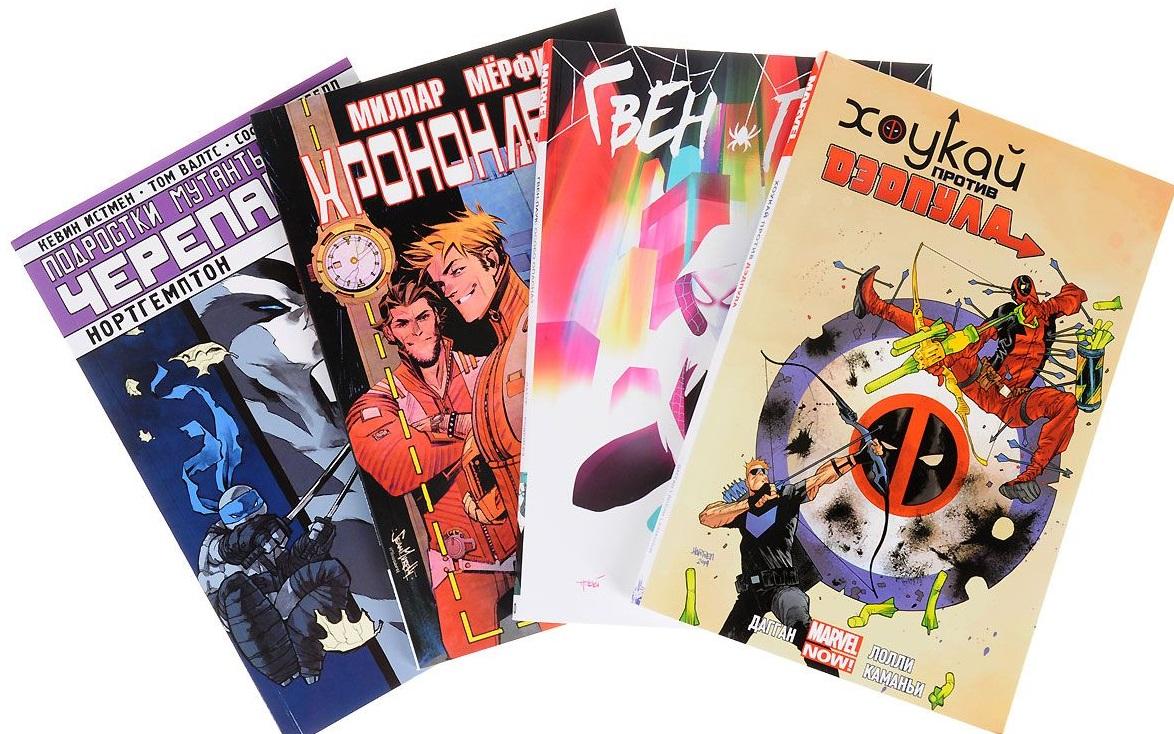 Комплект комиксов Черепашки, Хоукай, Дэдпул и Хрононавты комплект комиксов чубакка сёрфер бибоп рокстеди и дэдпул уничтожают вселенную марвел isbn 9785040929917