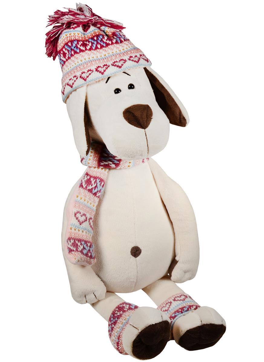 Мягкая игрушка Собачка Лапуська в шапочке (30 см)