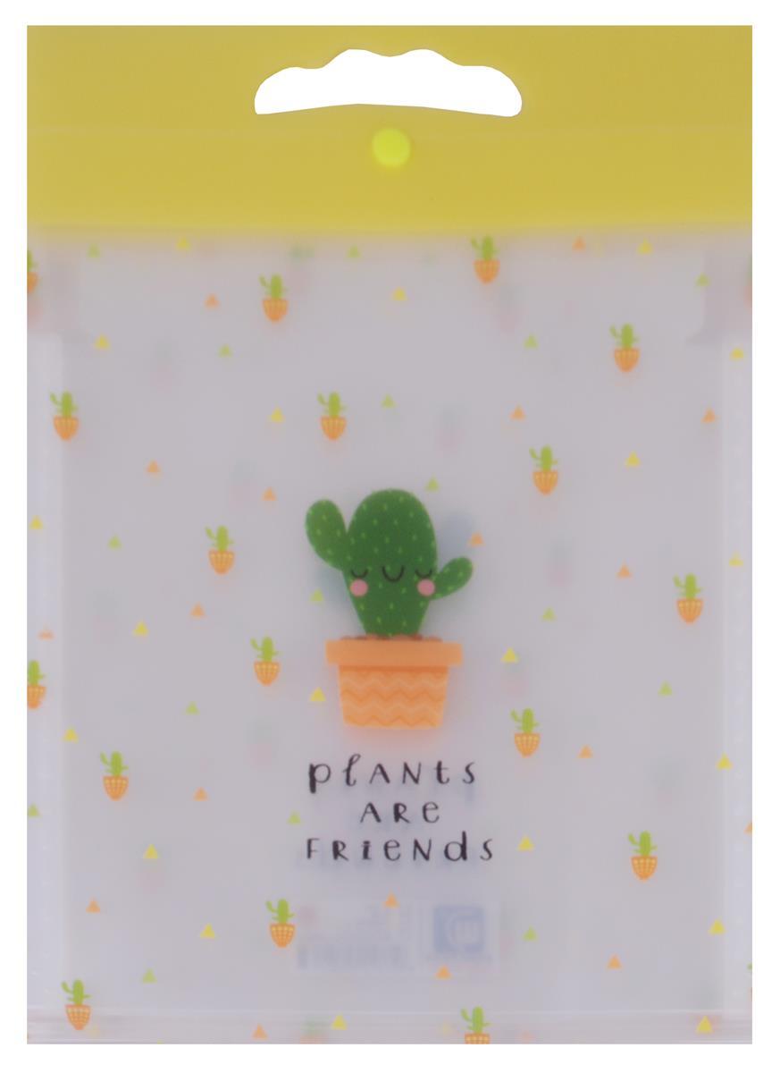"""Папка 6 отделений, вертикальная на кнопке """"Plants are friends"""""""