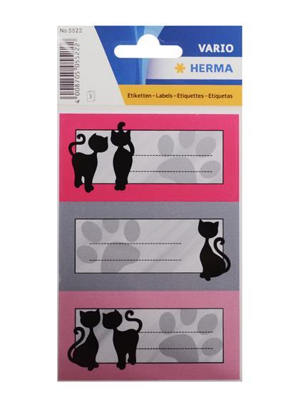 """Наклейки для тетрадей """"ЧЕРНЫЙ КОТ"""", 3шт.на листе, Herma"""