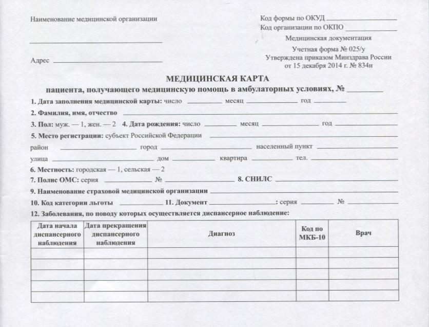 Медицинская карта пациента, получающего медицинскую помощь в амбулаторных условиях (форма №025/у) питер книга медицинская карта ребенка