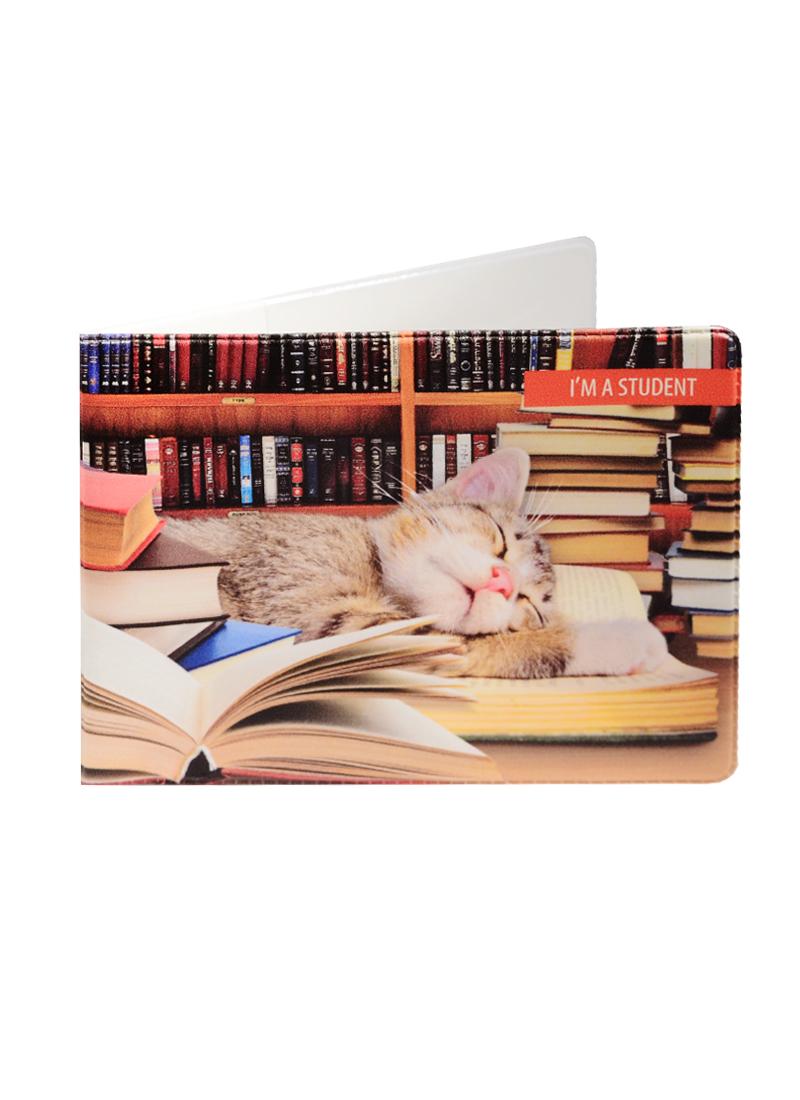 Обложка для студенческого Спящий котенок и книги