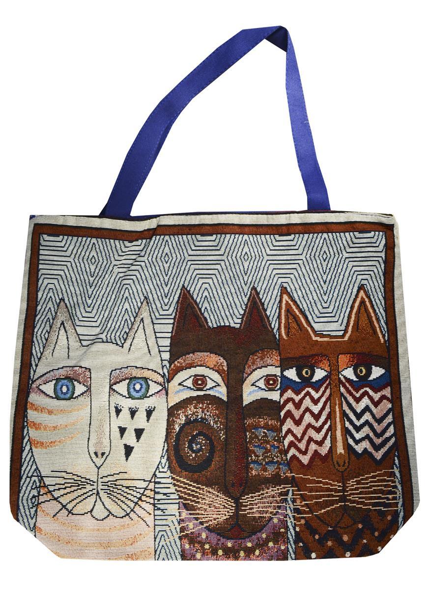 Сумка на молнии Три кота (белый фон) (40х40) (текстиль)