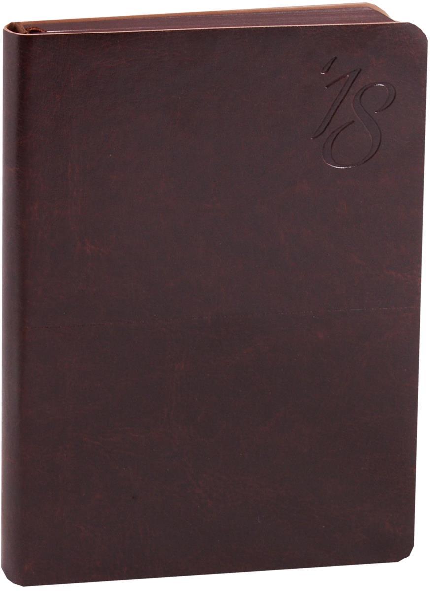 """Ежедневник датированный 2018г. А6 176 листов """"Сариф"""" темно-коричневый"""