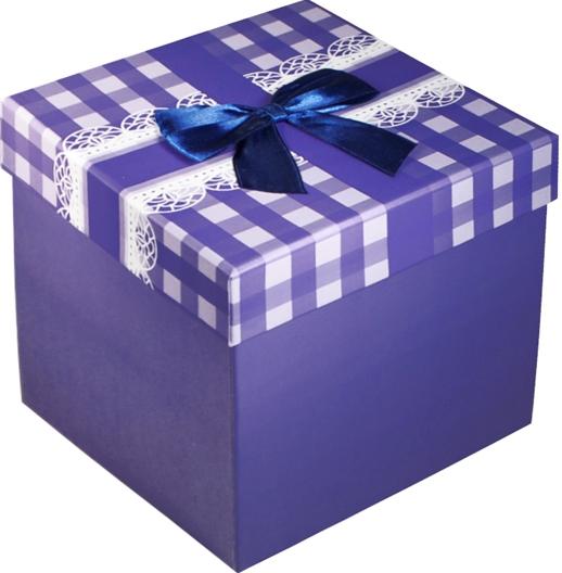 """Коробка подарочная """"Бант на синей клетке"""" 12*12*10см"""