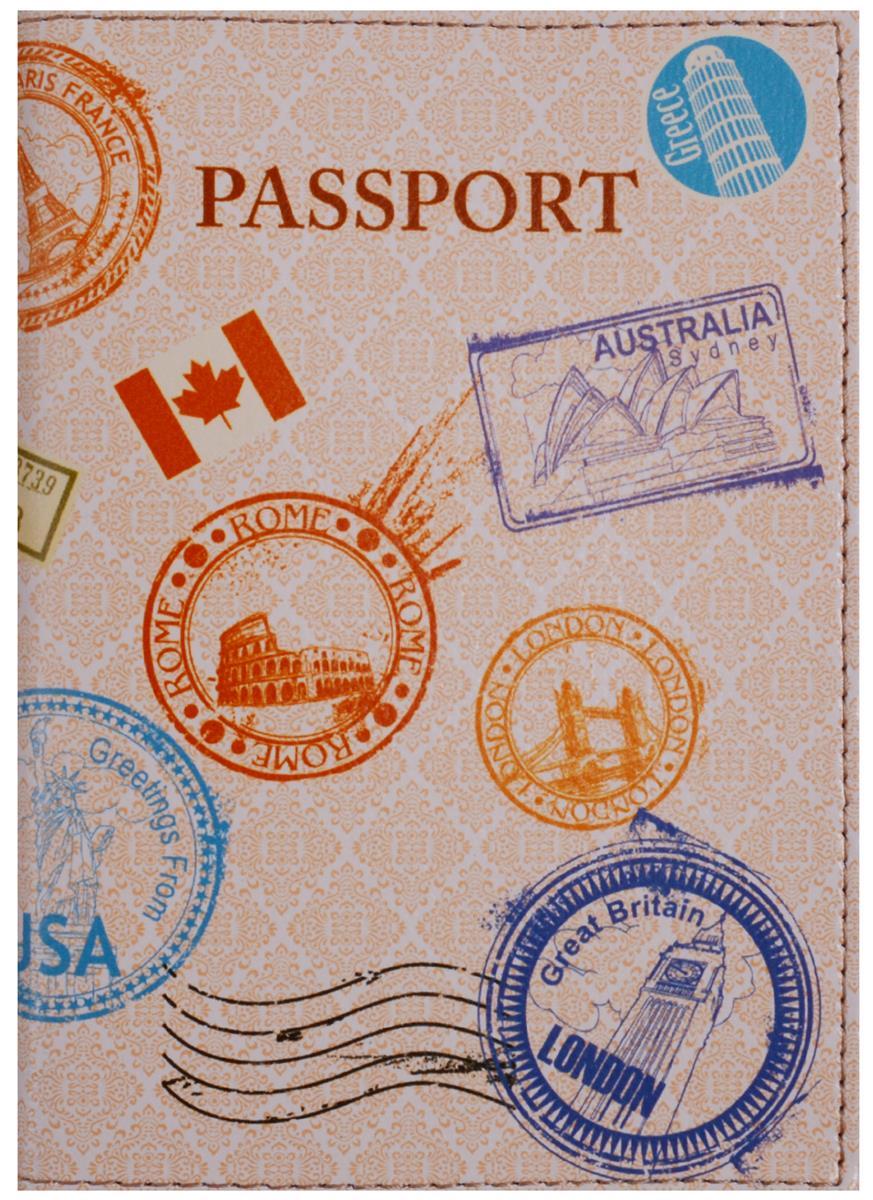 Обложка для паспорта Печати разных стран (кожа) (ПВХ бокс)