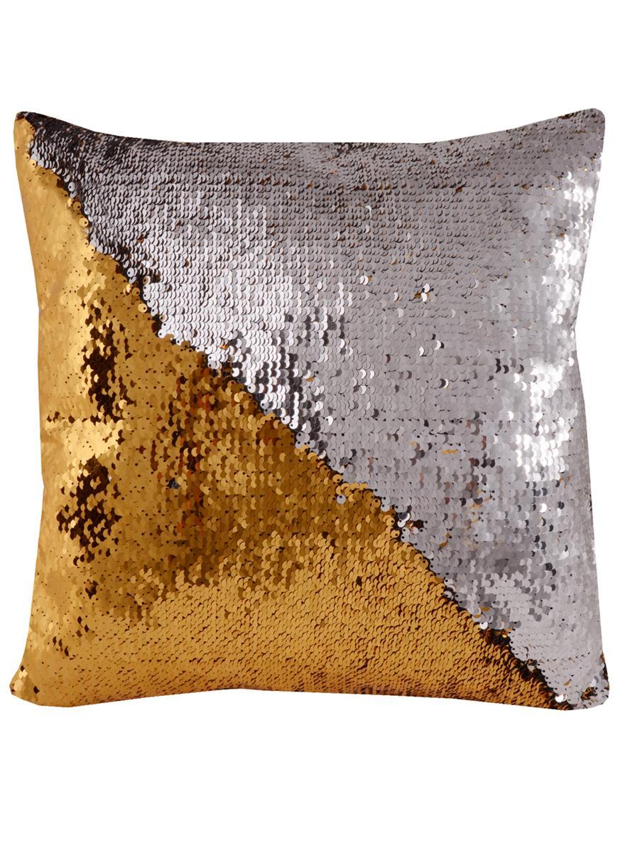 Подушка с пайетками золотая с серебром (37х37)