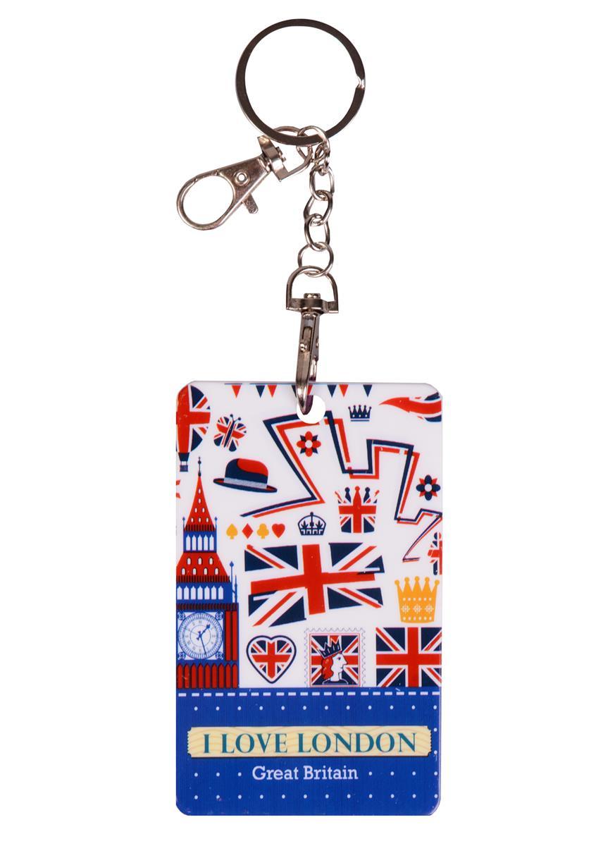 Чехол для карточек с карабином Лондон (пластик) (ПВХ бокс)
