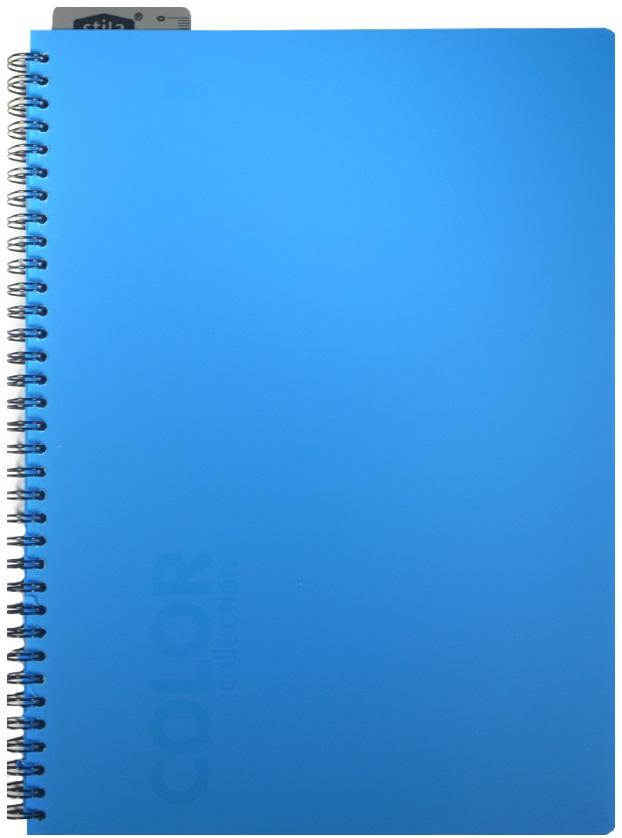 "Тетрадь А4 96л кл. ""NEON BLUE"" спираль, закладка-линейка, пластик.обл., ярко-голубая, stila"