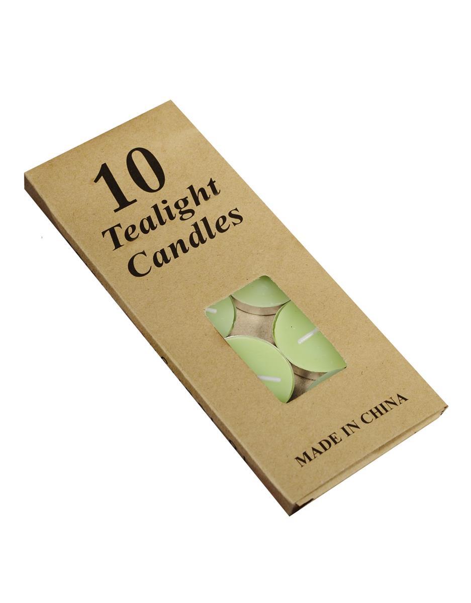 Набор чайных свечей в крафт коробке (10шт) (зеленые)