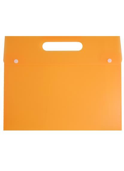 Папка-конверт А4+ на кнопке, с вырубной ручкой, пластик 0,5мм, ассорти, Tramix