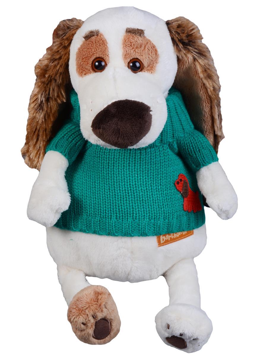 Мягкая игрушка Такса Бартоломей в зеленом свитере (27 см)