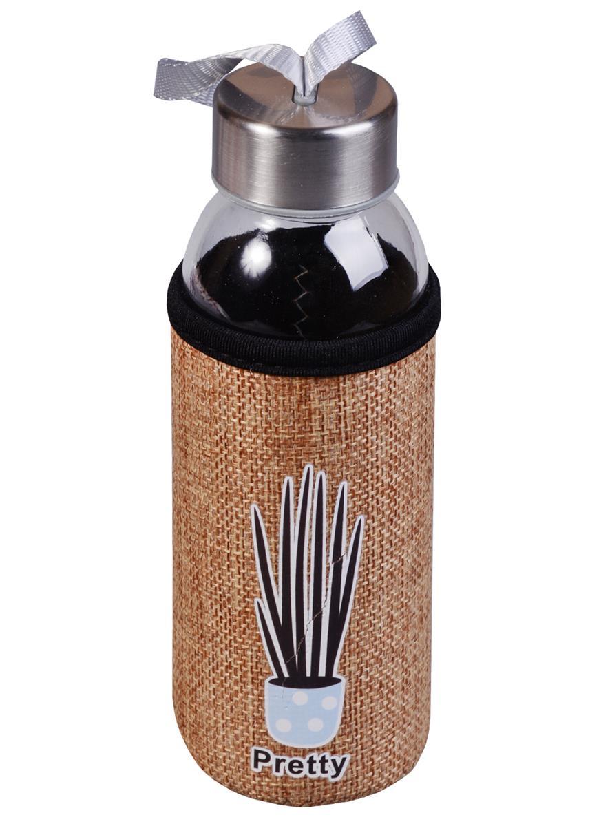 Бутылка в чехле джут Растение Pretty (стекло) (300мл)