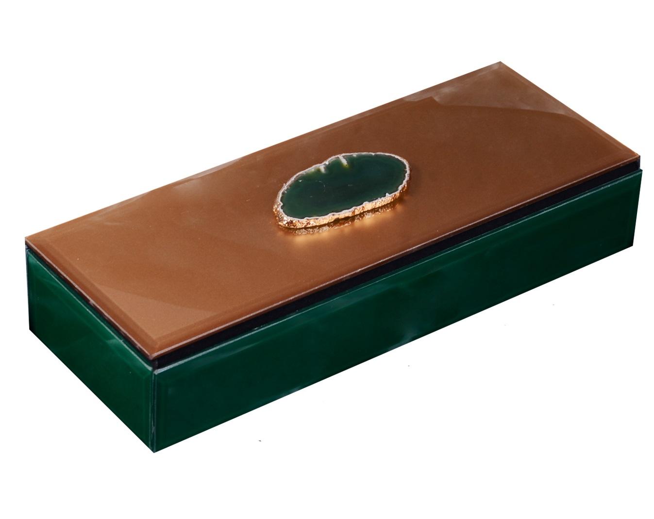Шкатулка стекло Дымчато-зеленый агат (25x10x5)